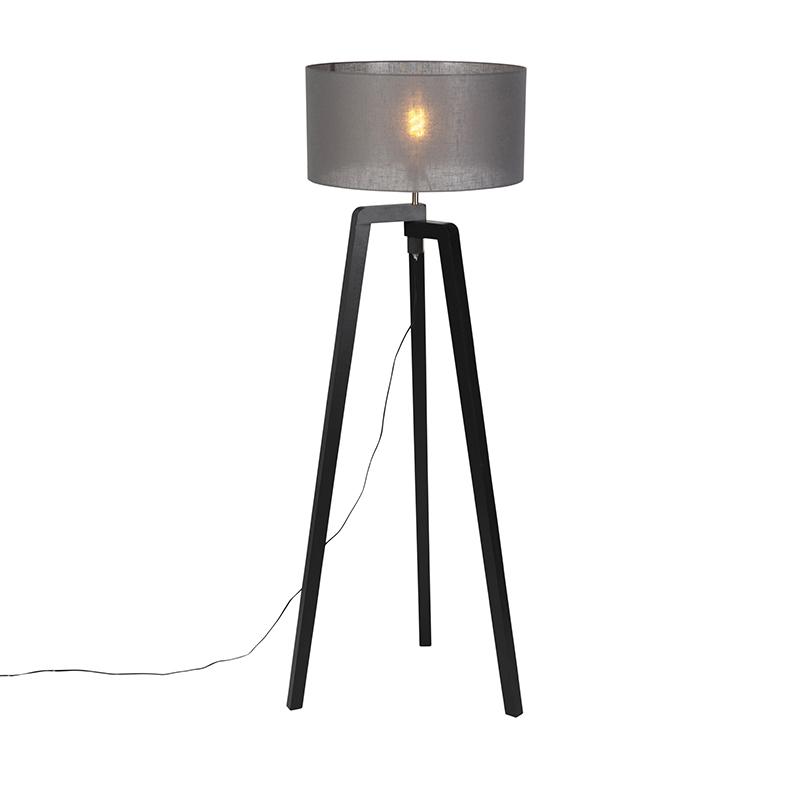 Vloerlamp tripod zwart hout met grijze kap 50 cm - Puros