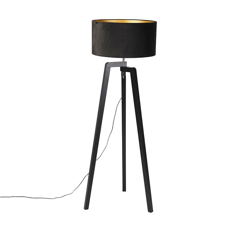 Vloerlamp Puros zwart met kap 50cm velours zwart - goud