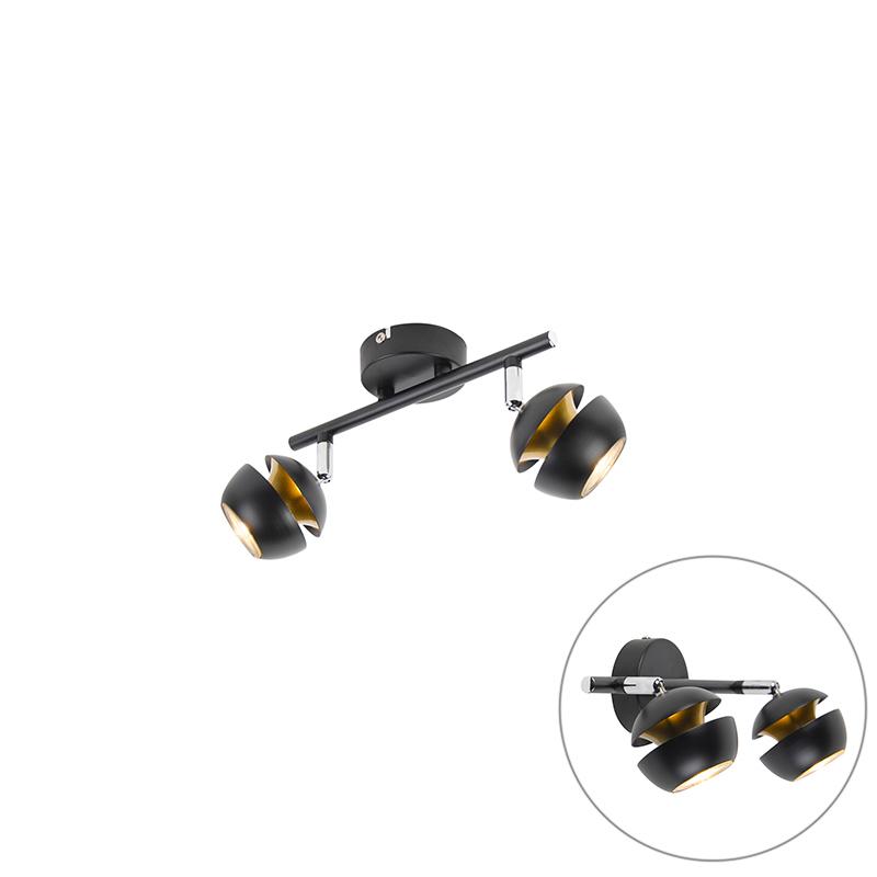 Moderne spot 2-lichts zwart met gouden binnenkant - Buell Deluxe