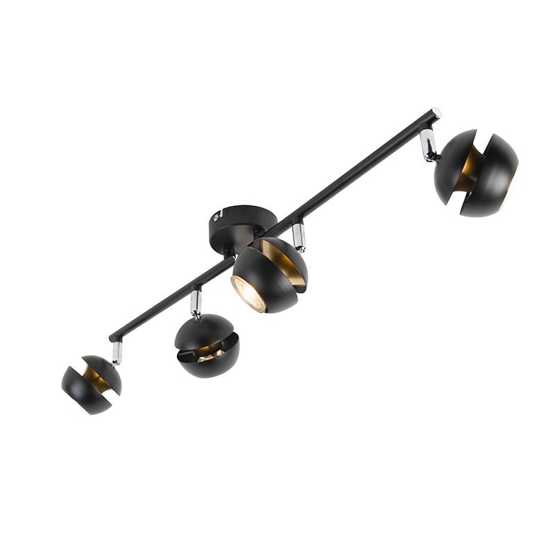Moderne spot 4-lichts zwart met gouden binnenkant - Buell Deluxe