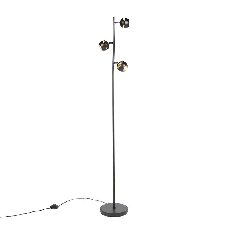 Moderne vloerlamp 3-lichts zwart met gouden binnenkant - Buell Deluxe
