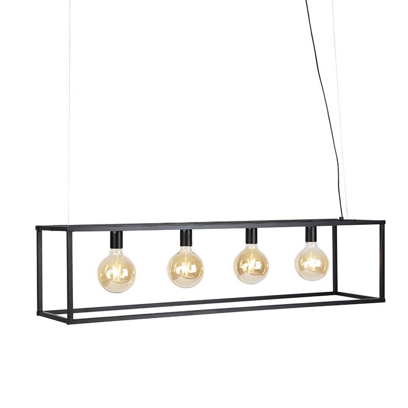 Moderne hanglamp 4-lichts E27 zwart - Big Cage