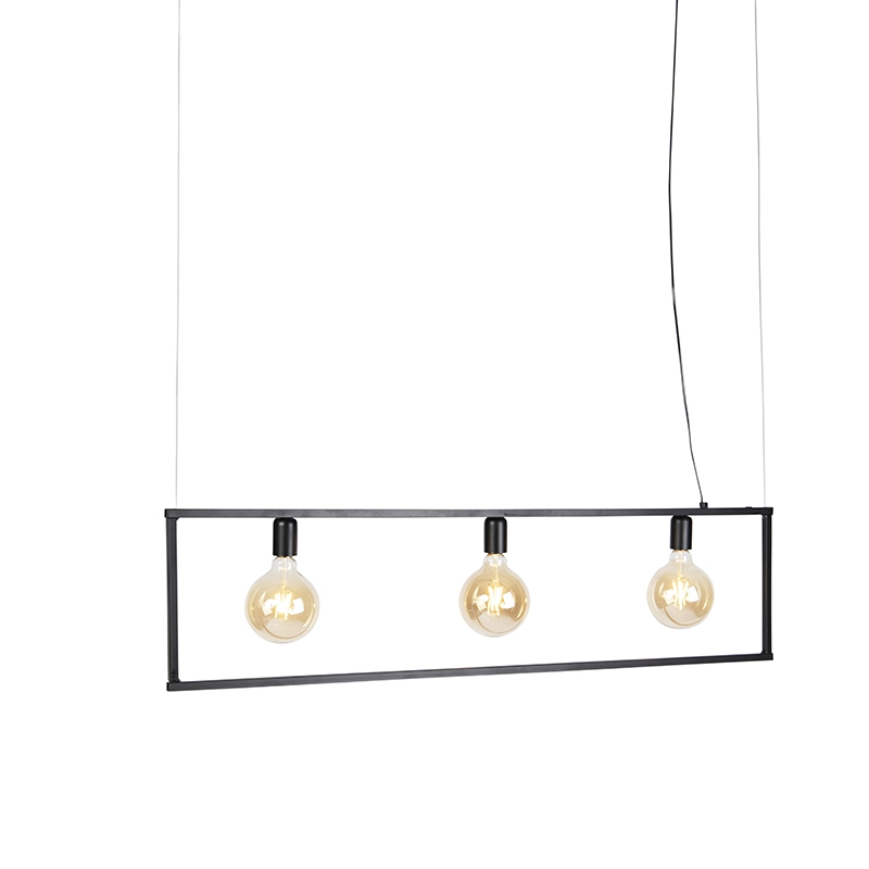 Moderne hanglamp 3-lichts 120cm E27 zwart - Simple Cage