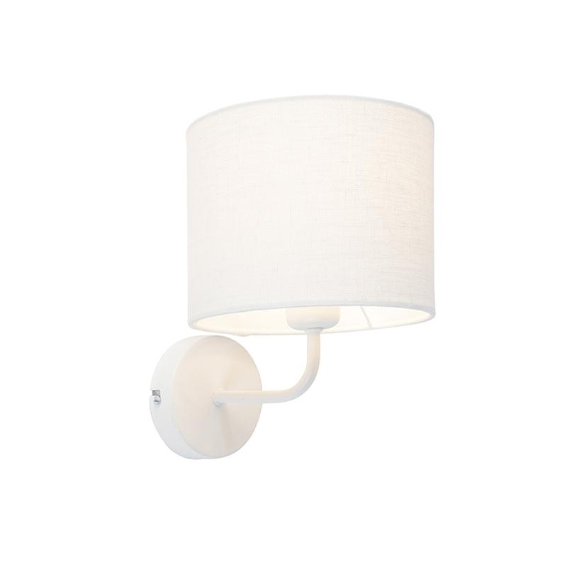 Vintage wandlamp wit met kap 18/18/14 wit