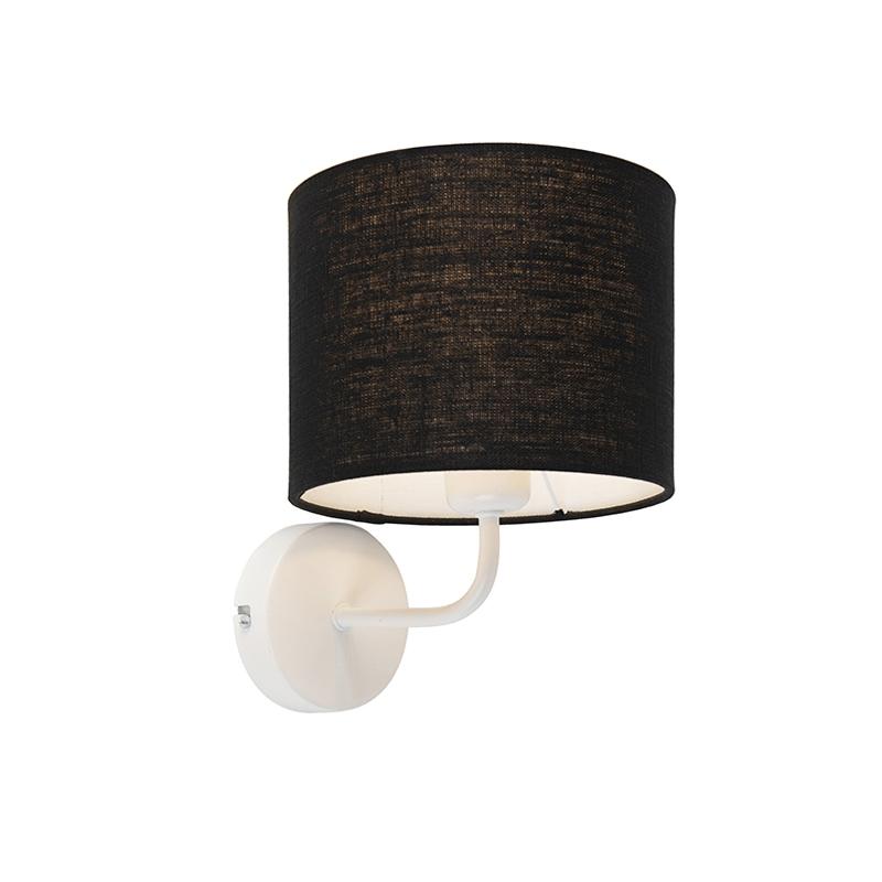 Vintage wandlamp wit met kap 18/18/14 zwart