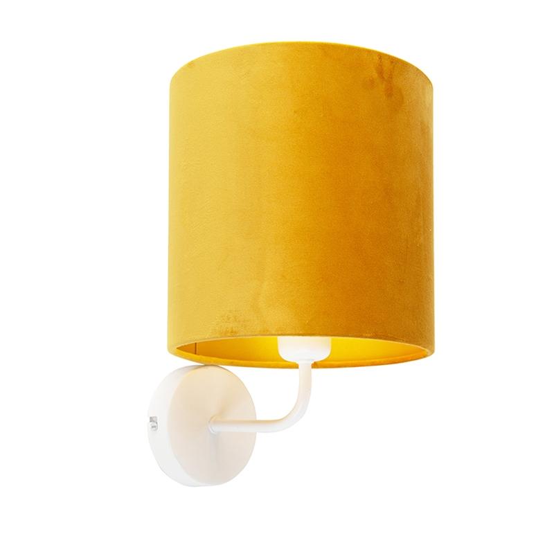Kinkiet vintage biały klosz welurowy żółty - Matt