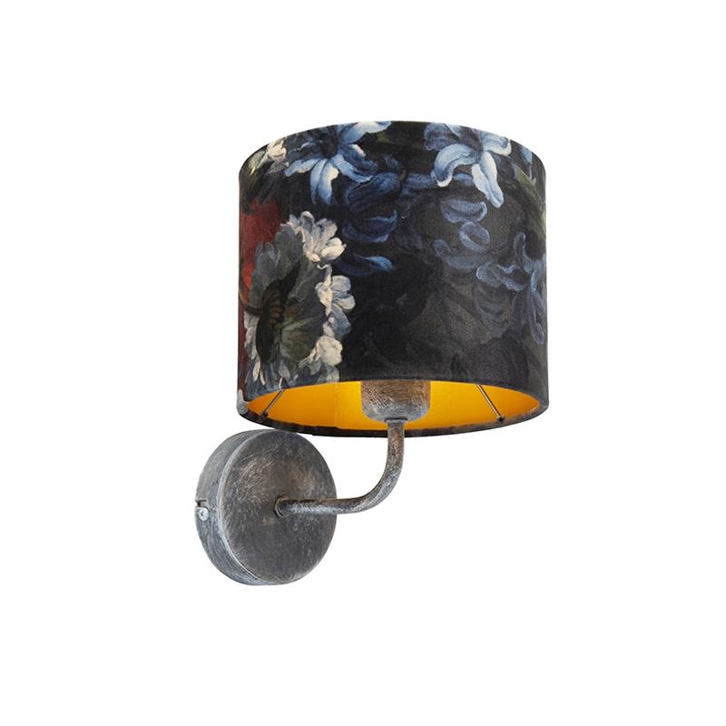 Vintage wandlamp antiek grijs met kap velours 18/18/14 bloemen - goud