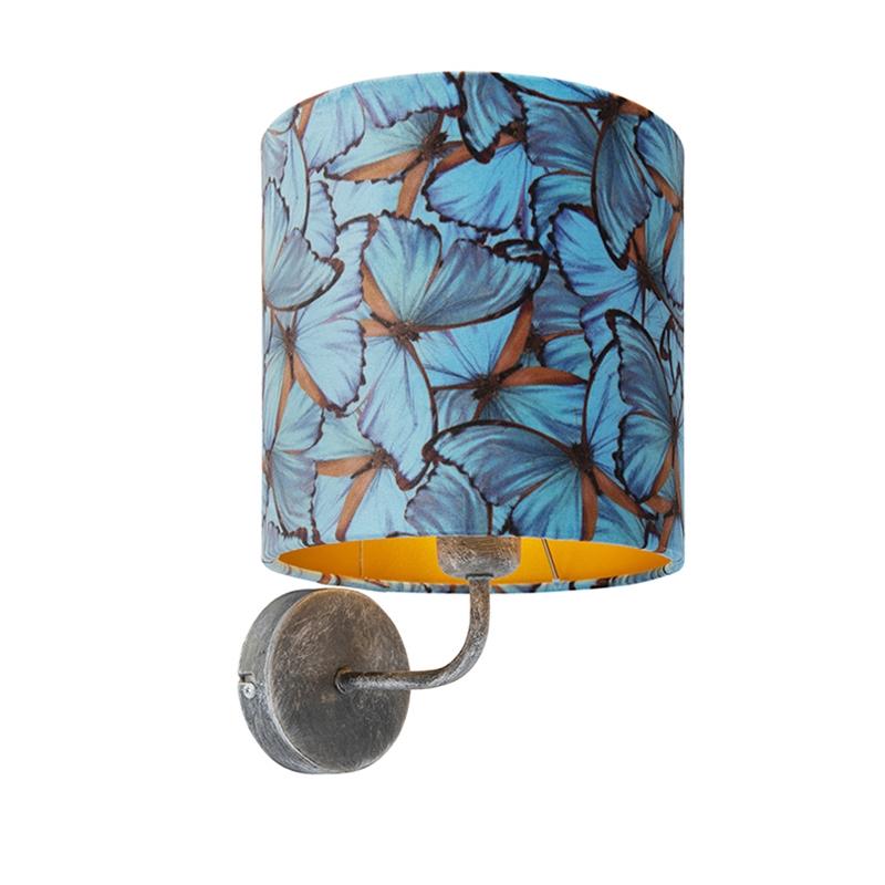 Vintage wandlamp antiek grijs met kap velours 20/20/20 vlinder - goud