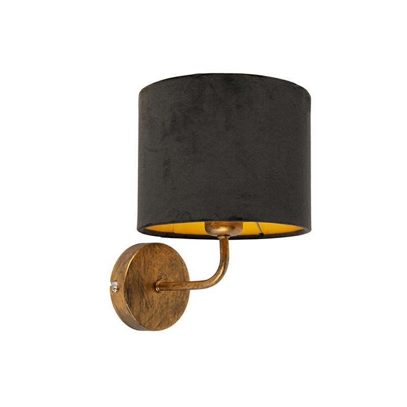 Vintage wandlamp goud met kap velours 18/18/14 zwart - goud