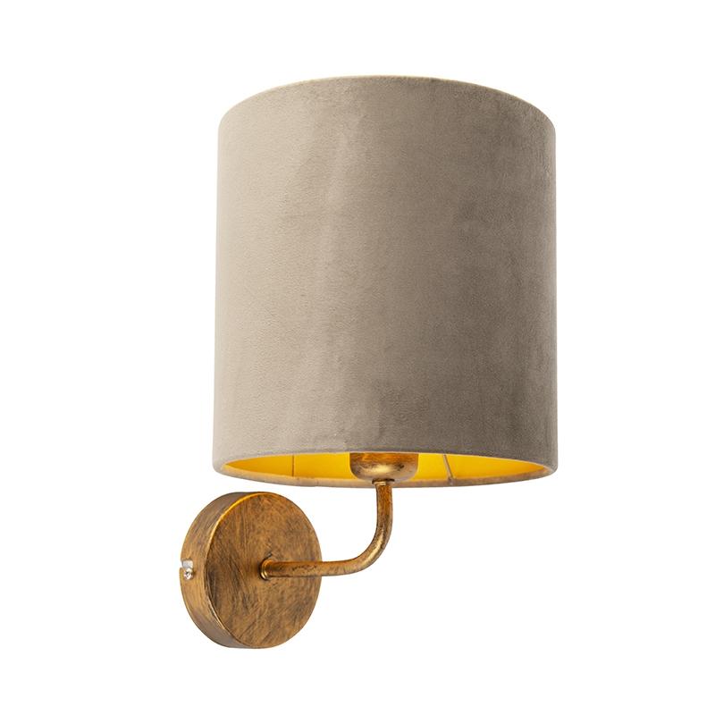 Vintage wandlamp goud met taupe velours kap - Matt