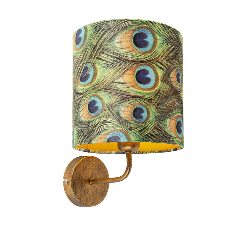 Vintage wandlamp goud met kap velours 20/20/20 pauw - goud