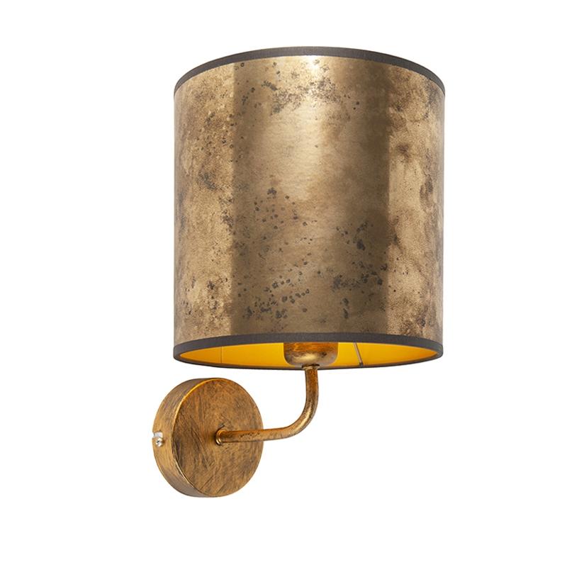 Vintage wandlamp goud met kap 20/20/20 oud brons - goud