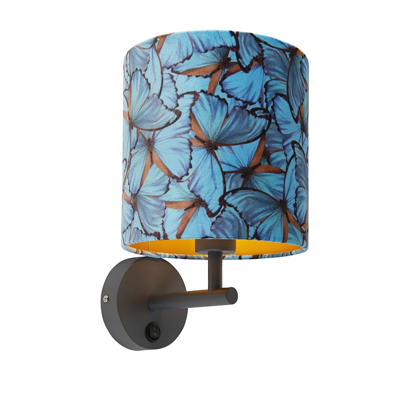 Strakke wandlamp donkergrijs met kap velours 20/20/20 vlinder - goud