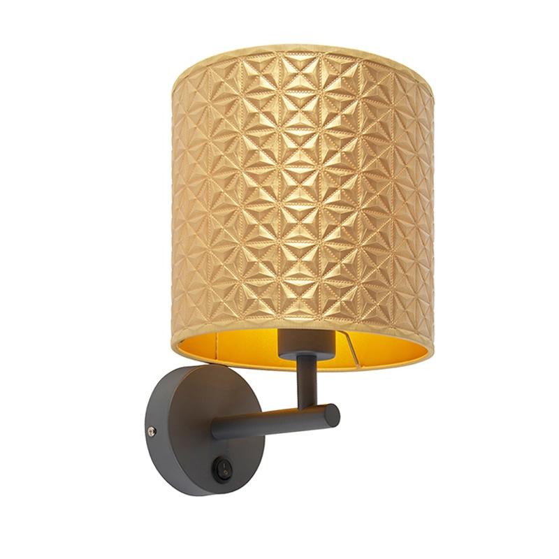Vintage wandlamp donkergrijs met goud triangle kap - Matt