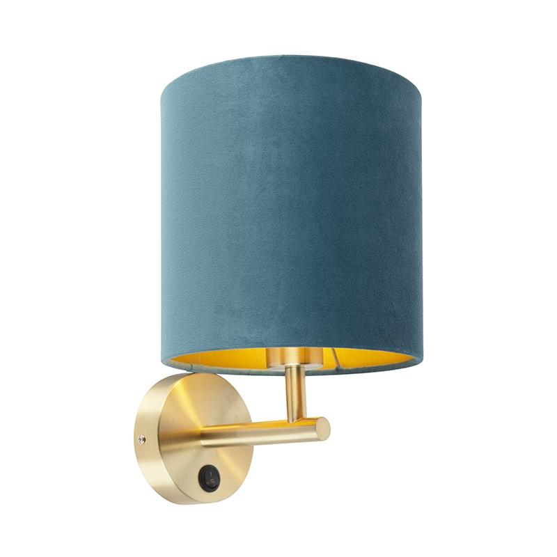 Strakke wandlamp goud met kap velours 20/20/20 blauw goud