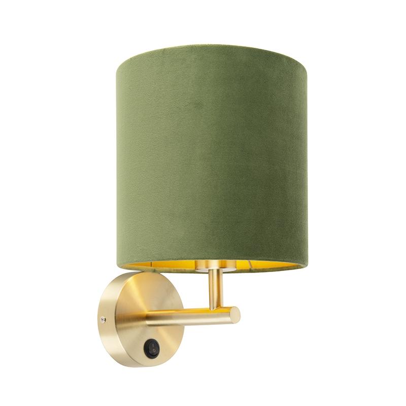 Strakke wandlamp goud met kap velours 20/20/20 groen - goud
