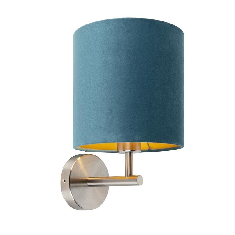 Strakke wandlamp staal met blauwe velours kap - Matt