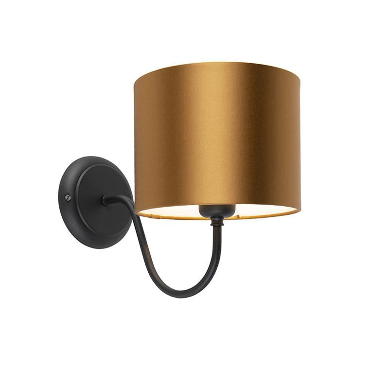 Image of Klassieke wandlamp zwart met kap 18/18/14 brons - wit