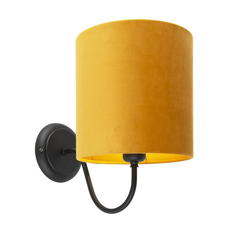Klassieke wandlamp zwart met gele velours kap - Matt