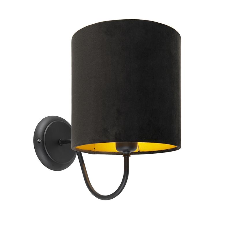 Klassieke wandlamp zwart met zwarte velours kap - Matt