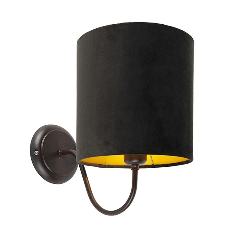 Klassieke wandlamp bruin met kap velours 20/20/20 zwart - goud