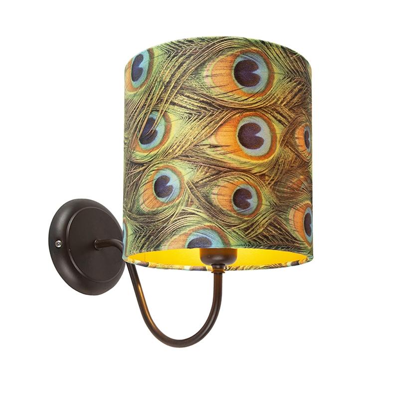 Klassieke wandlamp bruin met kap velours 20/20/20 pauw - goud