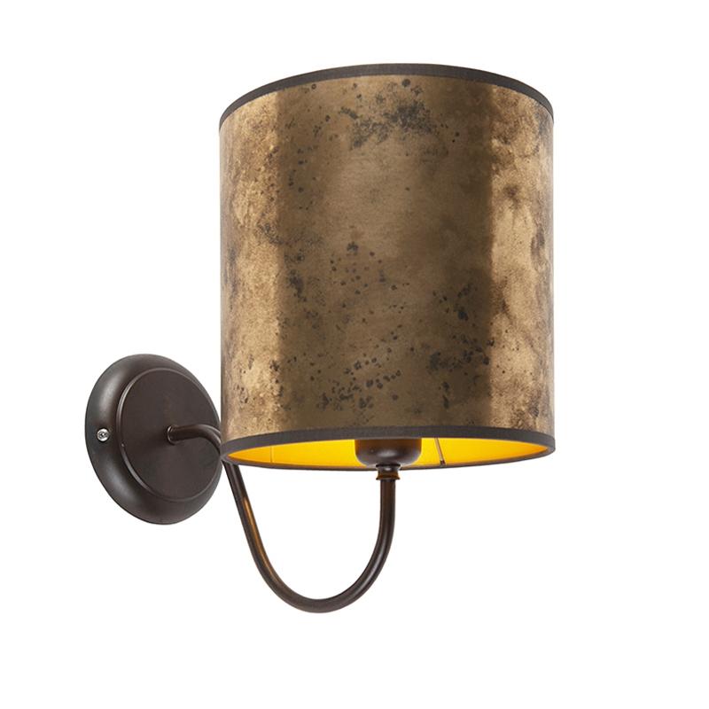 Klassieke wandlamp bruin met kap 20/20/20 oud brons - goud