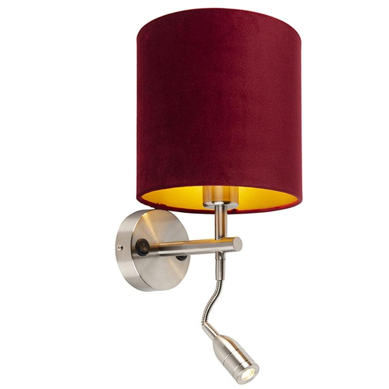 Moderne wandlamp staal met leeslamp en kap velours 20/20/20 rood - goud