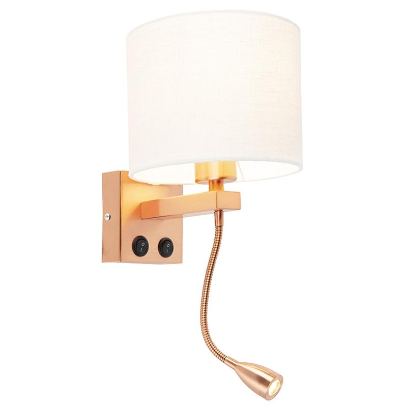 Moderne wandlamp koper Brescia met kap 18/18/14 wit