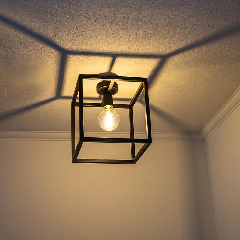 Moderne vierkante plafondlamp zwart staal - Big Cage