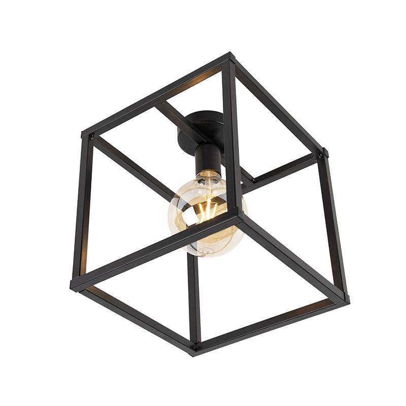 Moderne plafondlamp E27 zwart - Big Cage