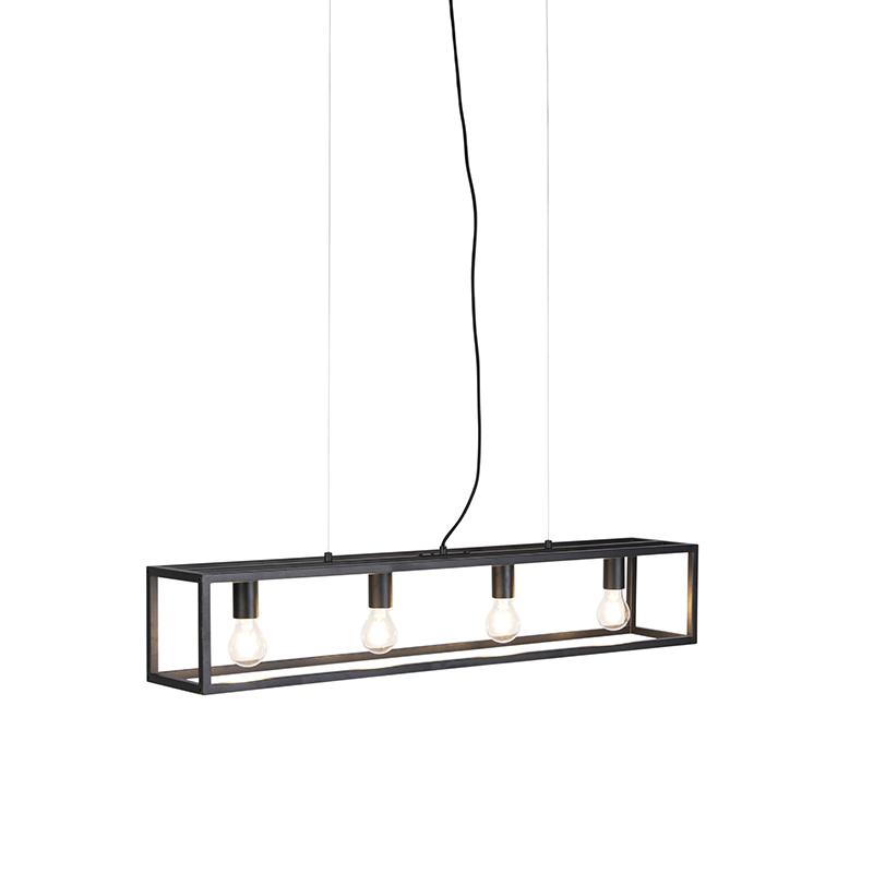 Przemysłowa lampa wisząca czarna 4-źródła światła - Cage