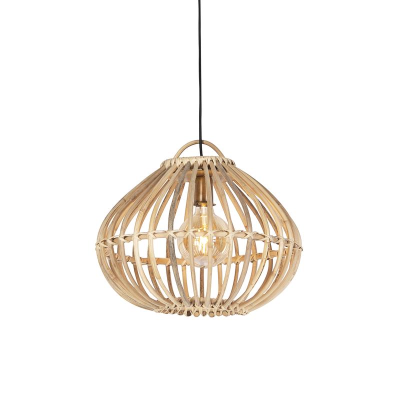 Landelijke hanglamp naturel bamboe - Cane Drop