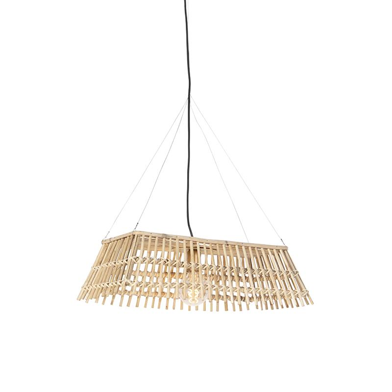 Landelijke rechthoekige hanglamp naturel bamboe - Cane Recta