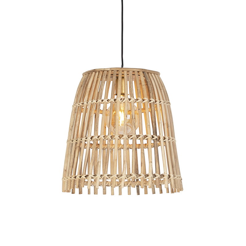 Landelijke hanglamp naturel bamboe - Cane Bucket klein