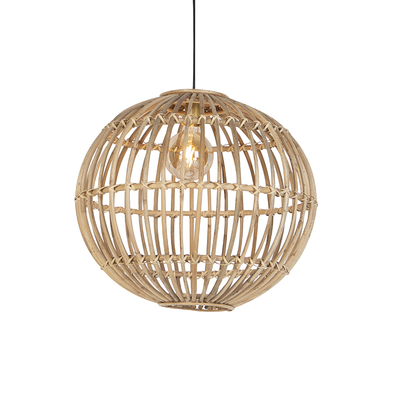 Rustykalna lampa wisząca naturalna bambus - Cane Ball 60