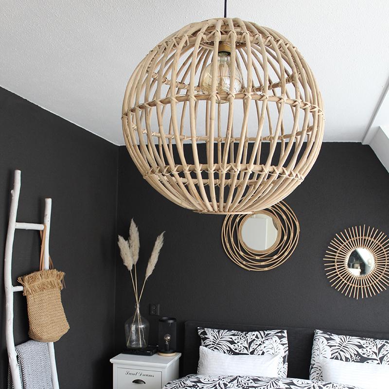 Landelijke hanglamp naturel bamboe - Cane Ball 60