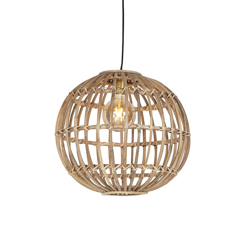 Landelijke hanglamp naturel bamboe - Cane Ball 50