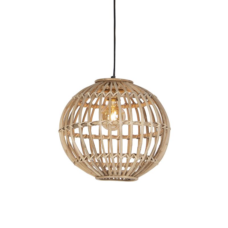 Landelijke hanglamp naturel bamboe - Cane Ball 40