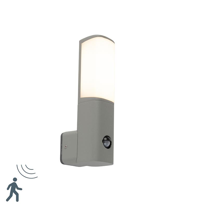Moderne buitenlamp grijs incl. LED met bewegingssensor - Rico