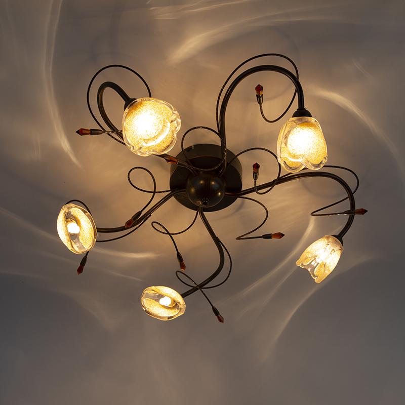 Landelijke plafondlamp roestbruin 5-lichts - Caprice