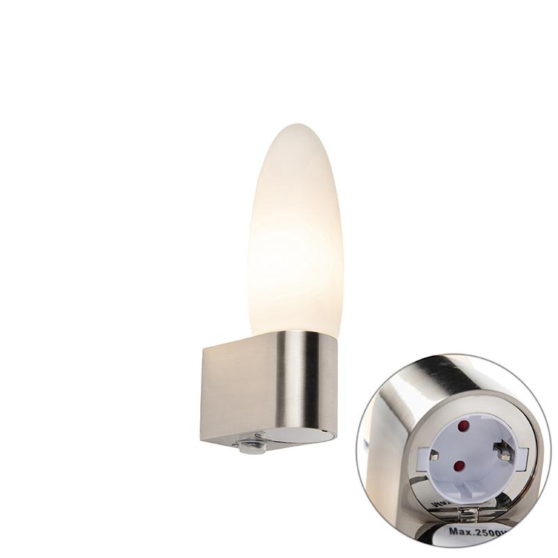 Moderne badkamer wandlamp met ingebouwd stopcontact - Liria