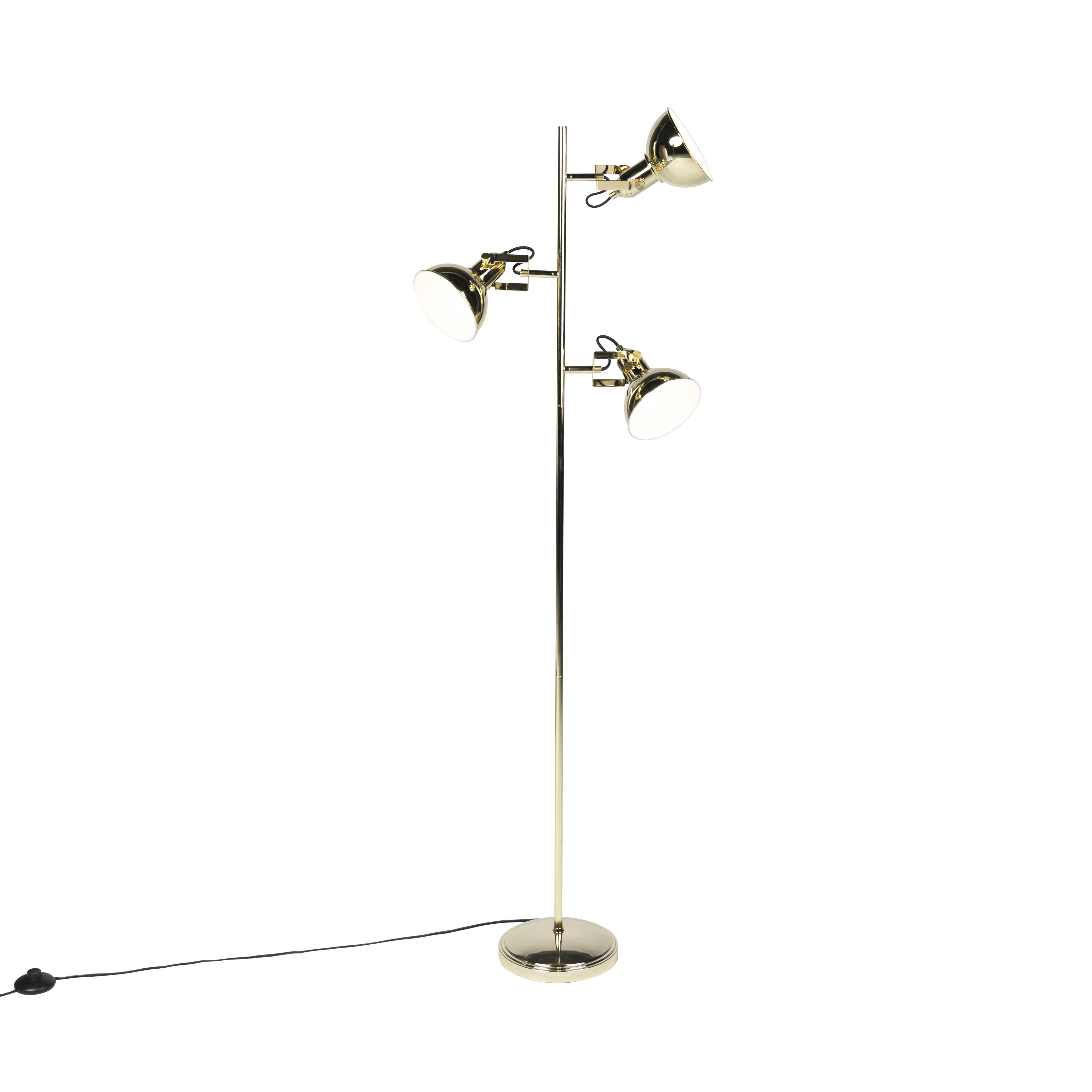 Industriele Vloerlamp Goud 3-lichts - Tommy