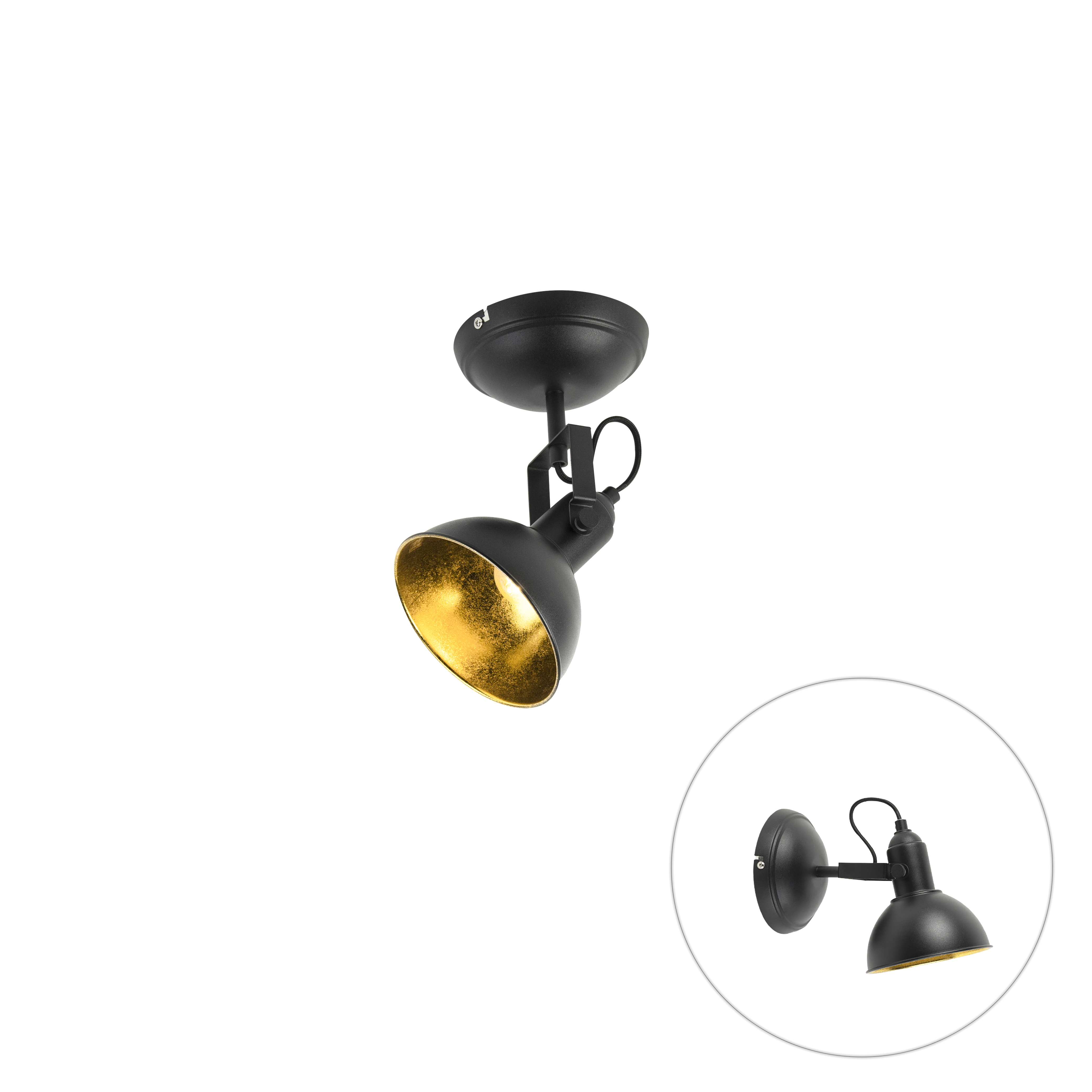 Industriele Ronde Spot Zwart Met Gouden Binnenkant 1-lichts - Tommy