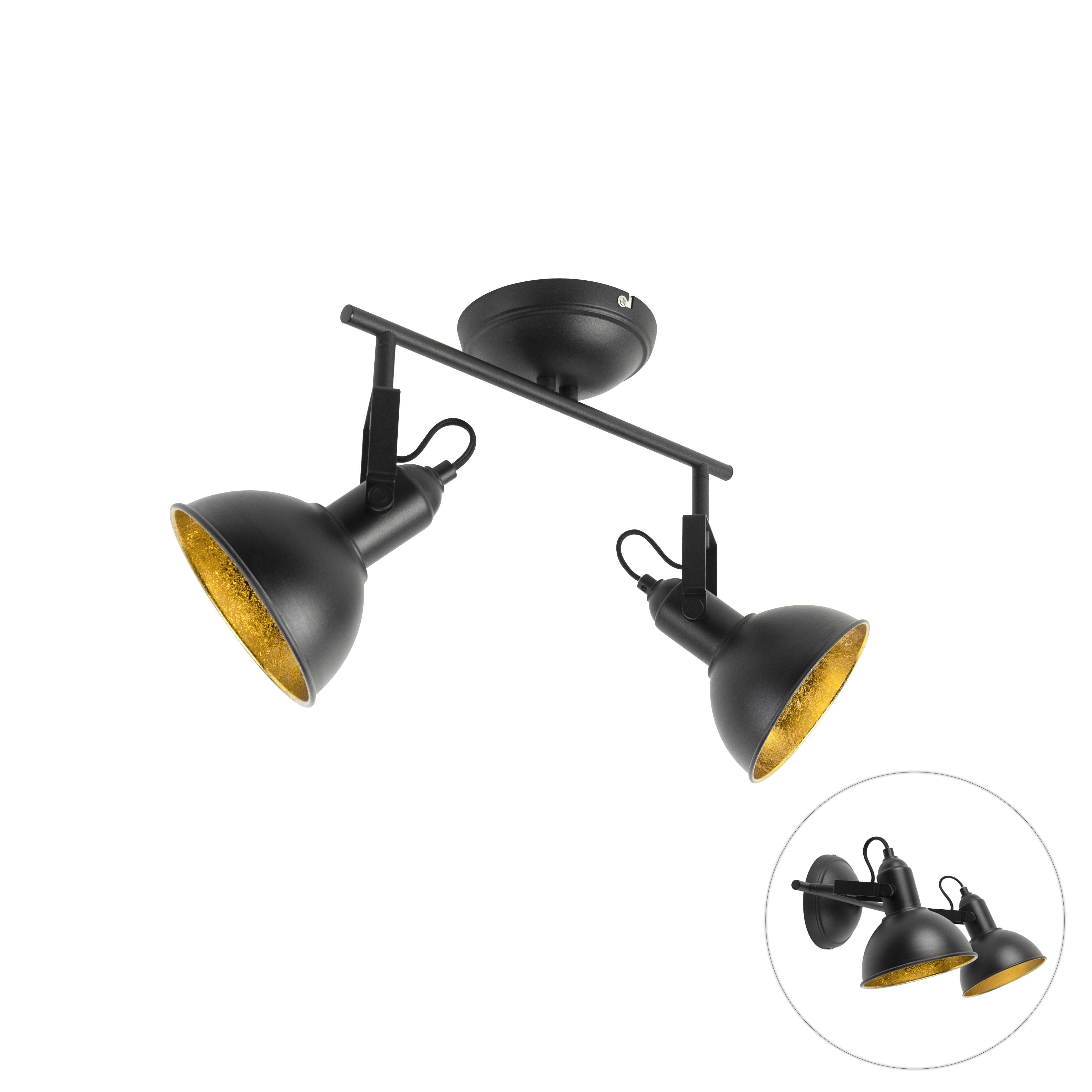 Industriele Spot Zwart Met Gouden Binnenkant 2-lichts - Tommy