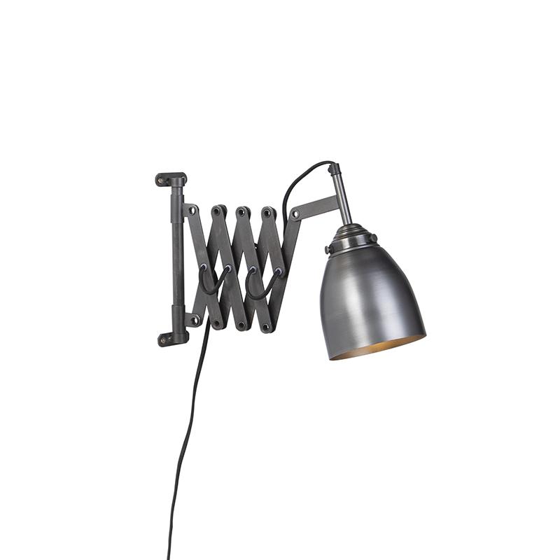 Vintage uittrekbare wandlamp antiek zink - Scissors