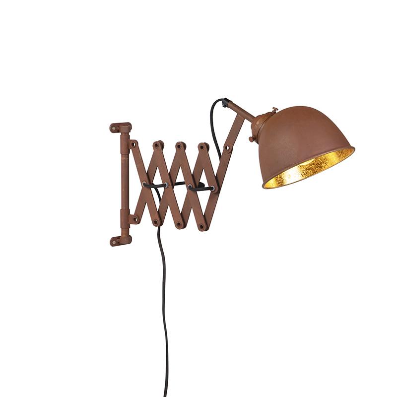 Vintage uittrekbare wandlamp roest met roestgouden kap- Scissors