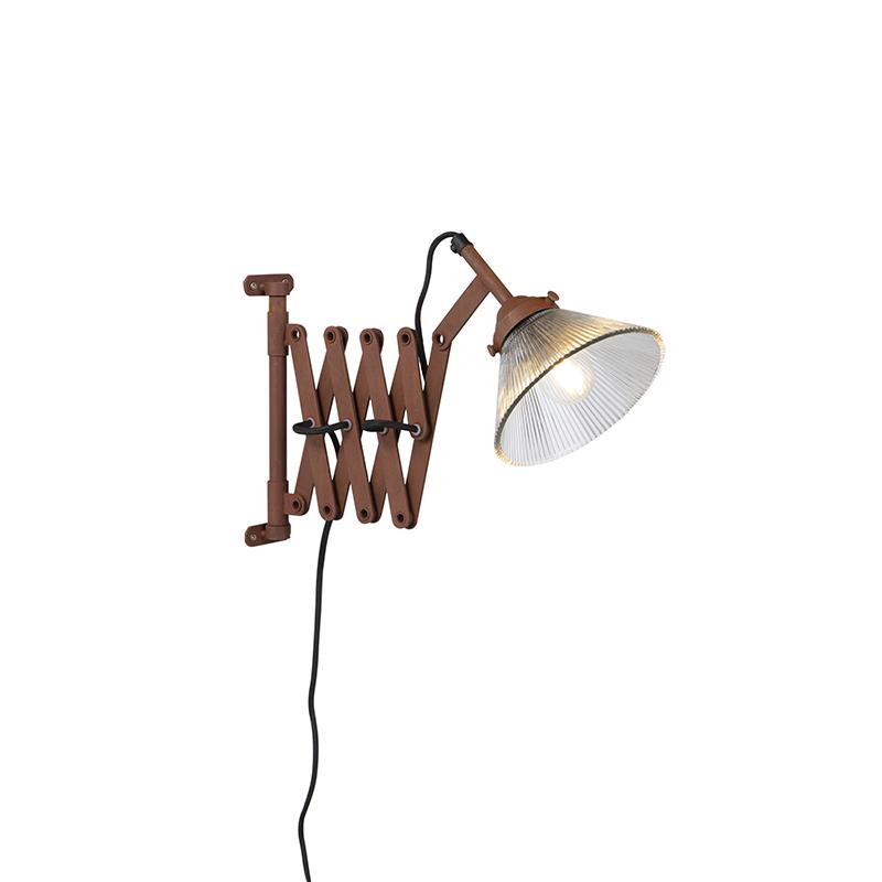 Vintage uittrekbare wandlamp roest met glas - Scissors Glass