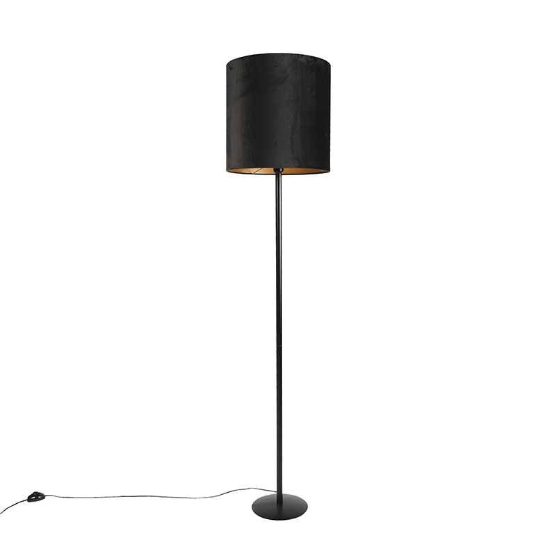 Zwarte vloerlamp met velours kap zwart met goud 40 cm - Simplo
