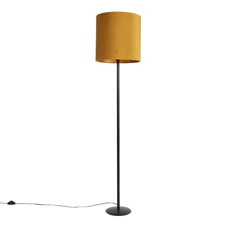 Zwarte vloerlamp met velours kap oker met goud 40 cm - Simplo